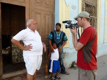 Cuba. Geoff Baker with the Dedeu family in Havana