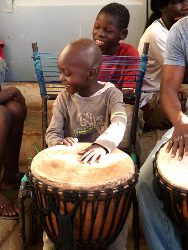 Mali. Thierré Diarra playing the djembe