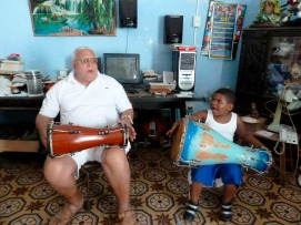Cuba. Kevin Dedeu with his father Amado Dedeu